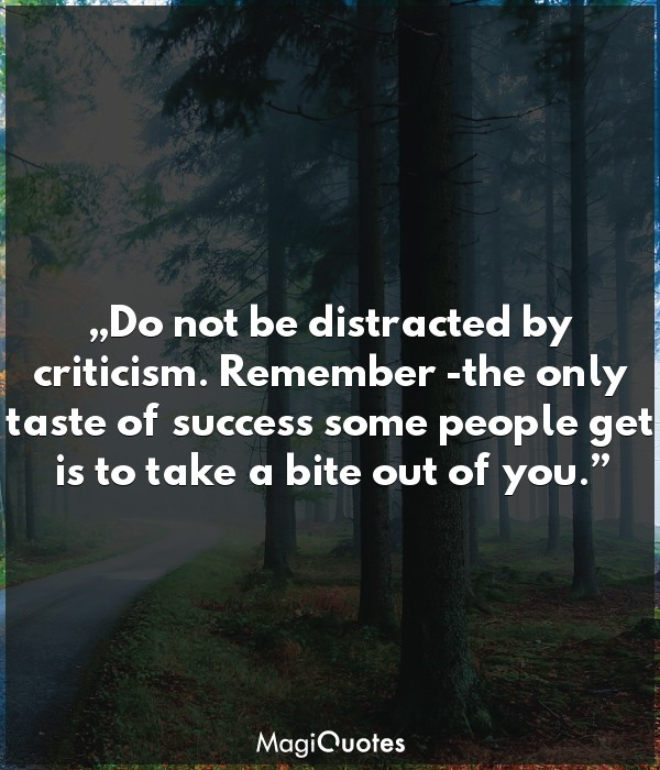 Do not be distracted by criticism