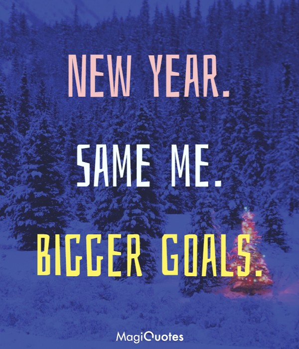 New year. Same me. Bigger Goals