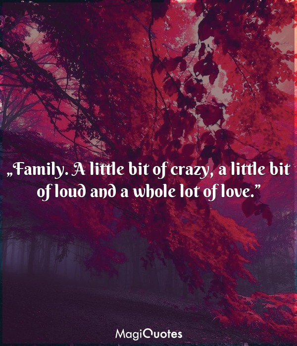 A little bit of crazy, a little bit of loud and a whole lot of love