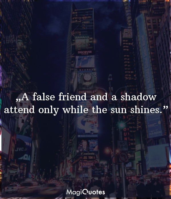A false friend and a shadow attend only while the sun shines