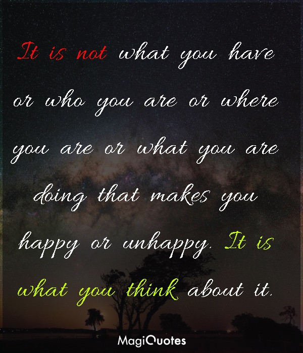 It is not what you have or who you are or where you are