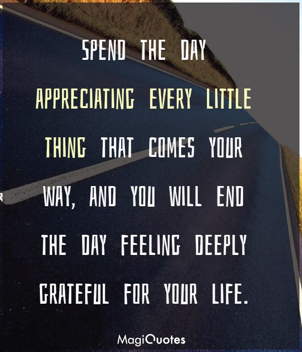 Spend the day appreciating every little thing that comes your way