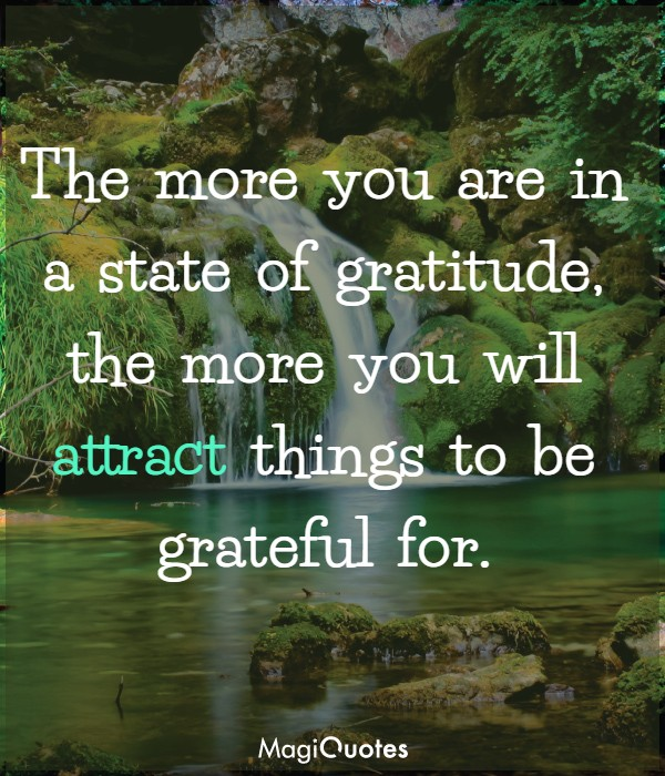 The more you are in a state of gratitude
