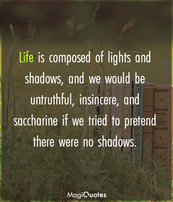Life is composed of lights and shadows