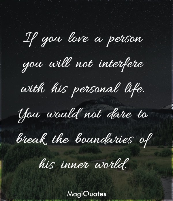 If you love a person
