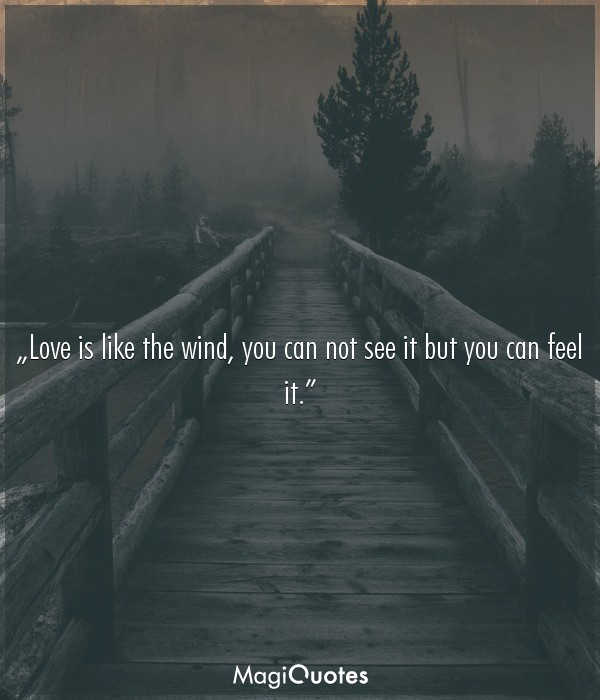 Love is like the wind, you can not see it but you can feel it