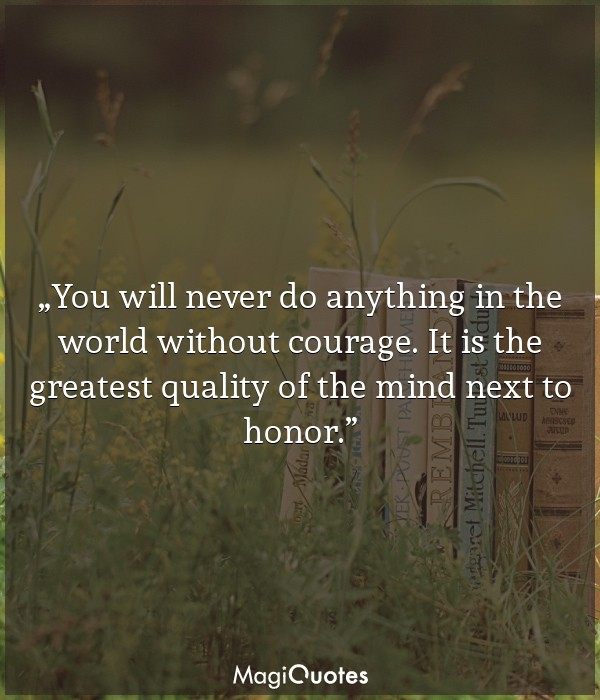 You will never do anything in the world without courage