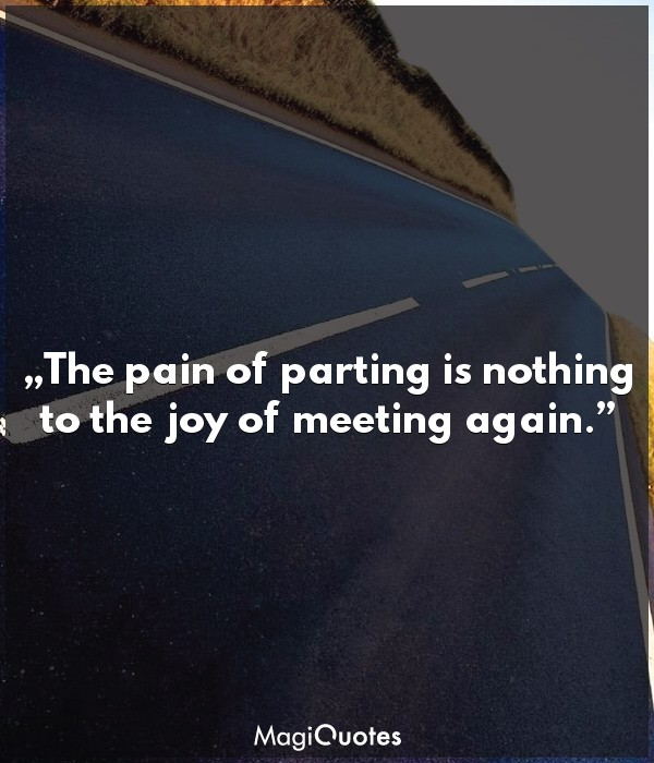 The pain of parting is nothing to the joy of meeting again