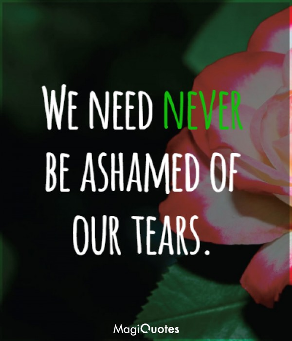 We need never be ashamed