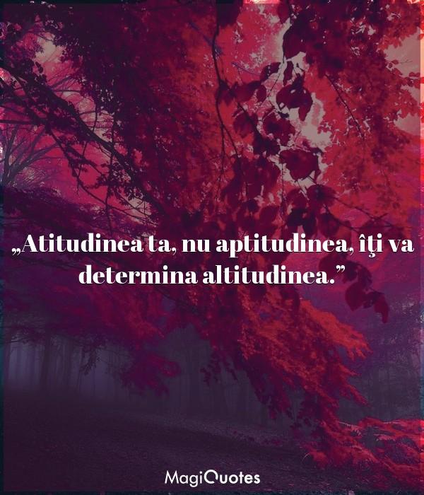 Atitudinea ta, nu aptitudinea, îţi va determina altitudinea