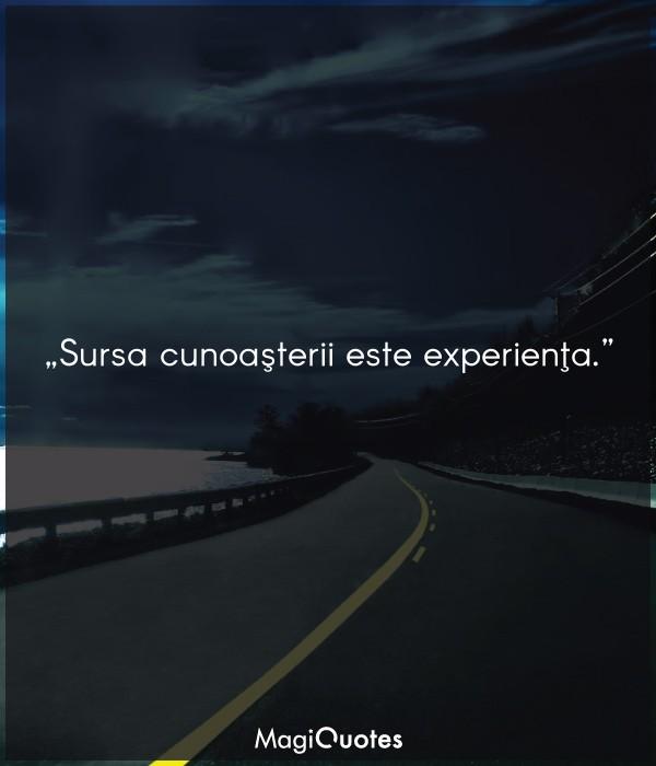 Sursa cunoaşterii este experienţa