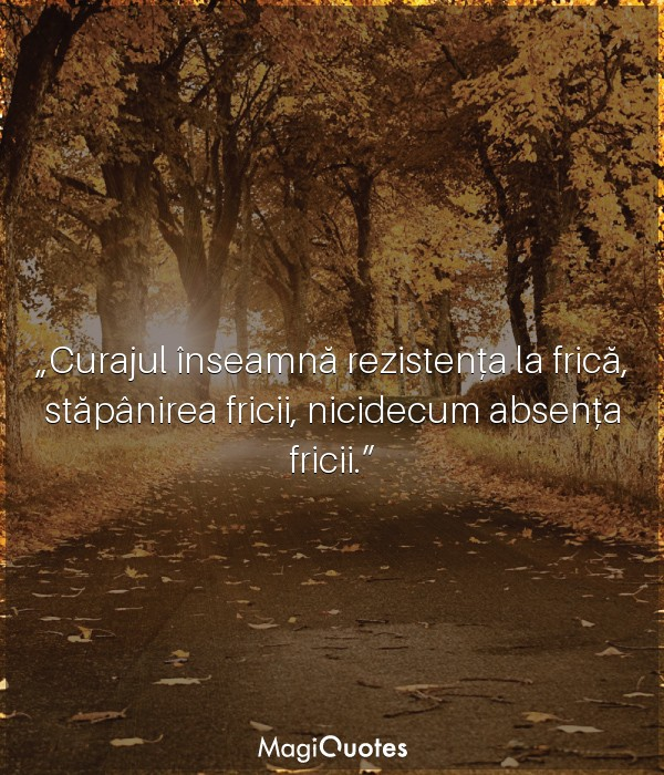 Curajul înseamnă rezistența la frică