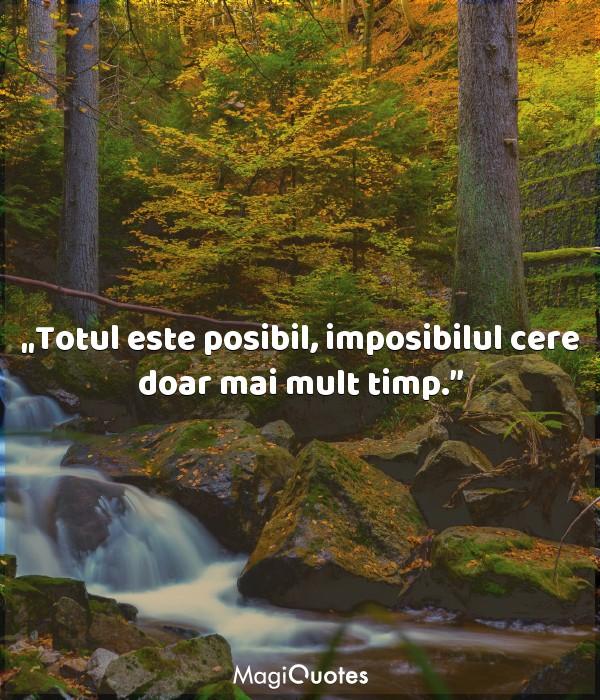 Totul este posibil, imposibilul cere doar mai mult timp