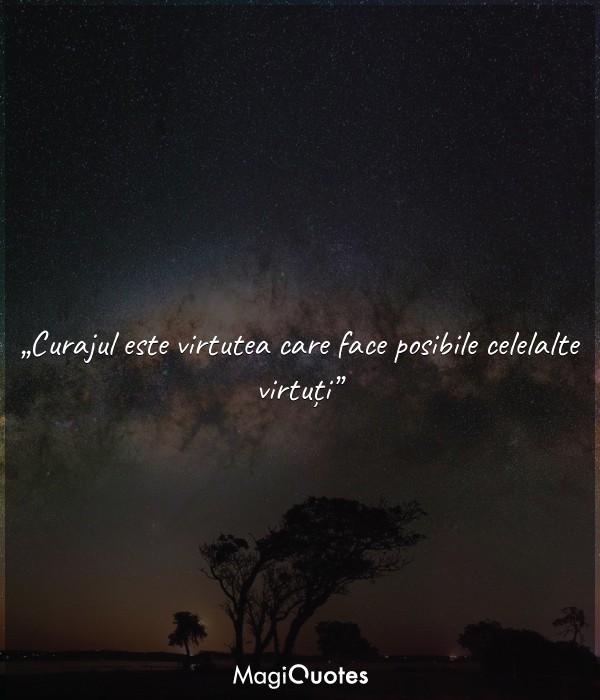 Curajul este virtutea care face posibile celelalte virtuți.