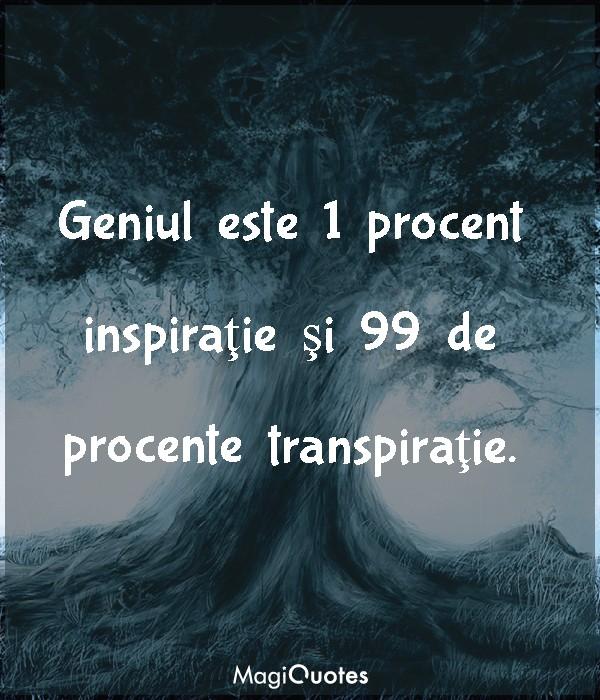 Geniul este 1 procent inspiraţie