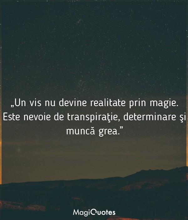 Un vis nu devine realitate prin magie