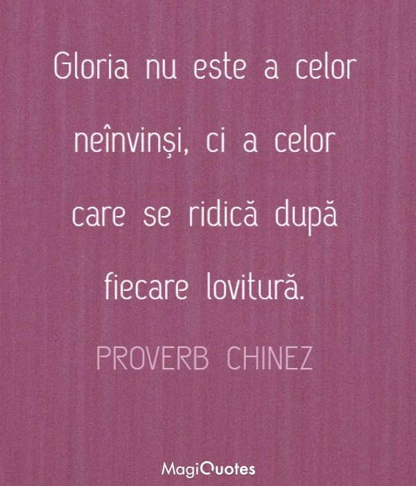Gloria nu este a celor neînvinşi
