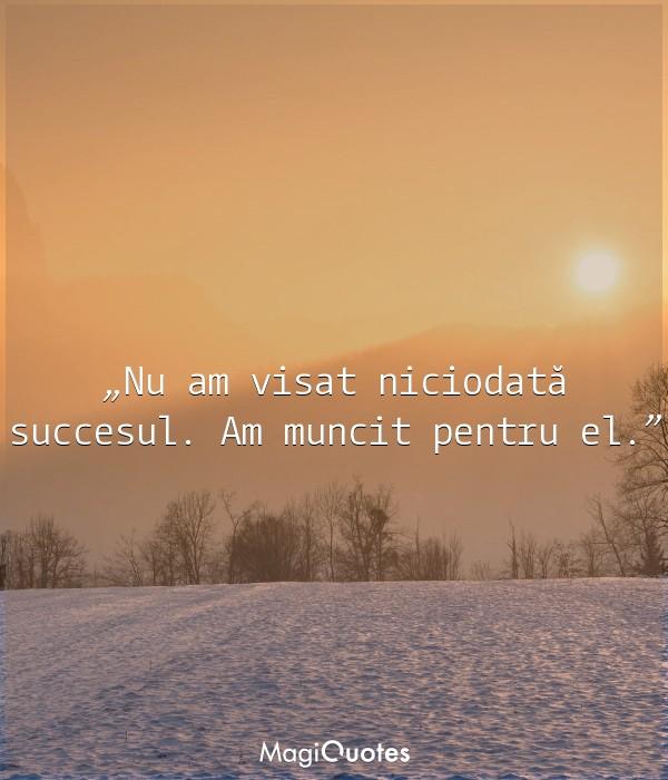 Nu am visat niciodată succesul