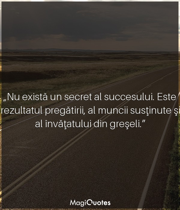 Nu există un secret al succesului.