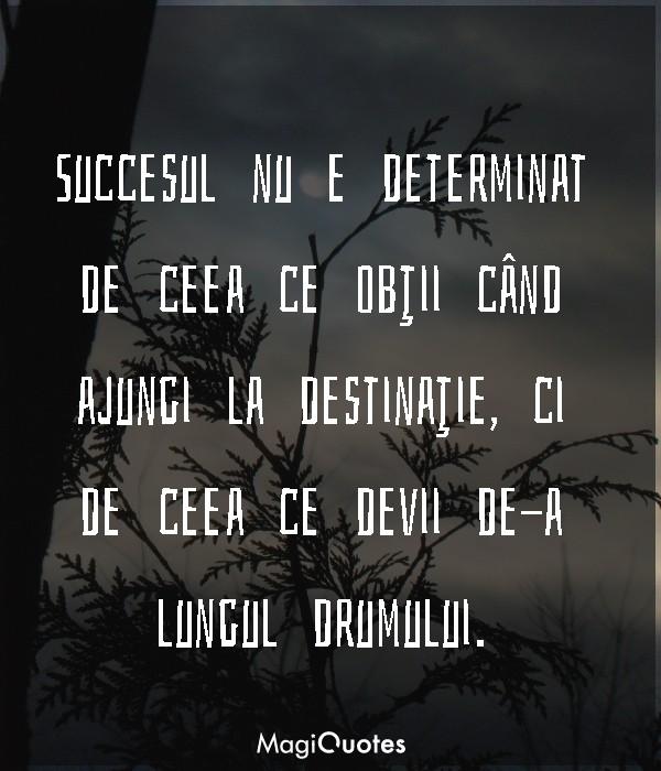 Succesul nu e determinat de ceea ce obţii