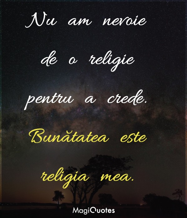 Nu am nevoie de o religie